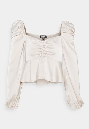 PUFF SLEEVE RUCHED FRONT PEPLUM - Long sleeved top - cream