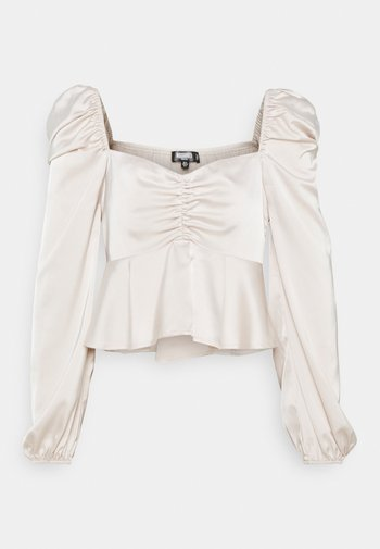 PUFF SLEEVE RUCHED FRONT PEPLUM