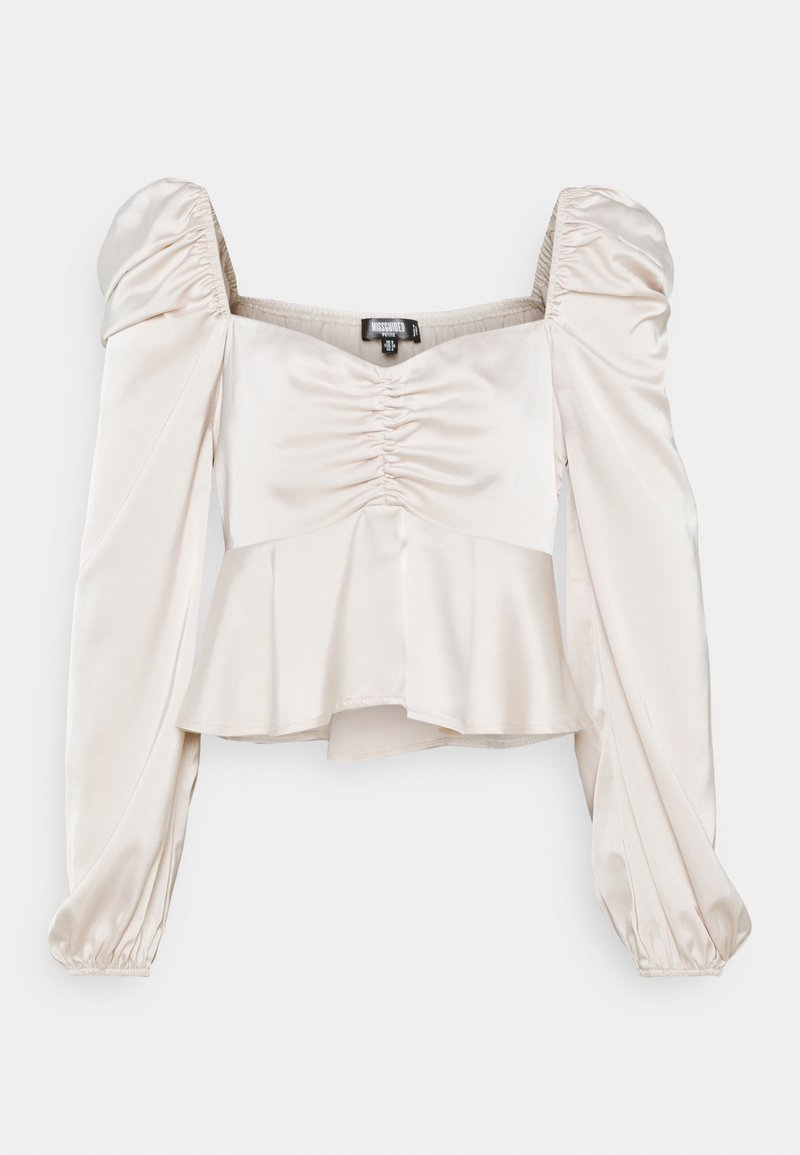 Missguided Petite - PUFF SLEEVE RUCHED FRONT PEPLUM - Blouse - cream