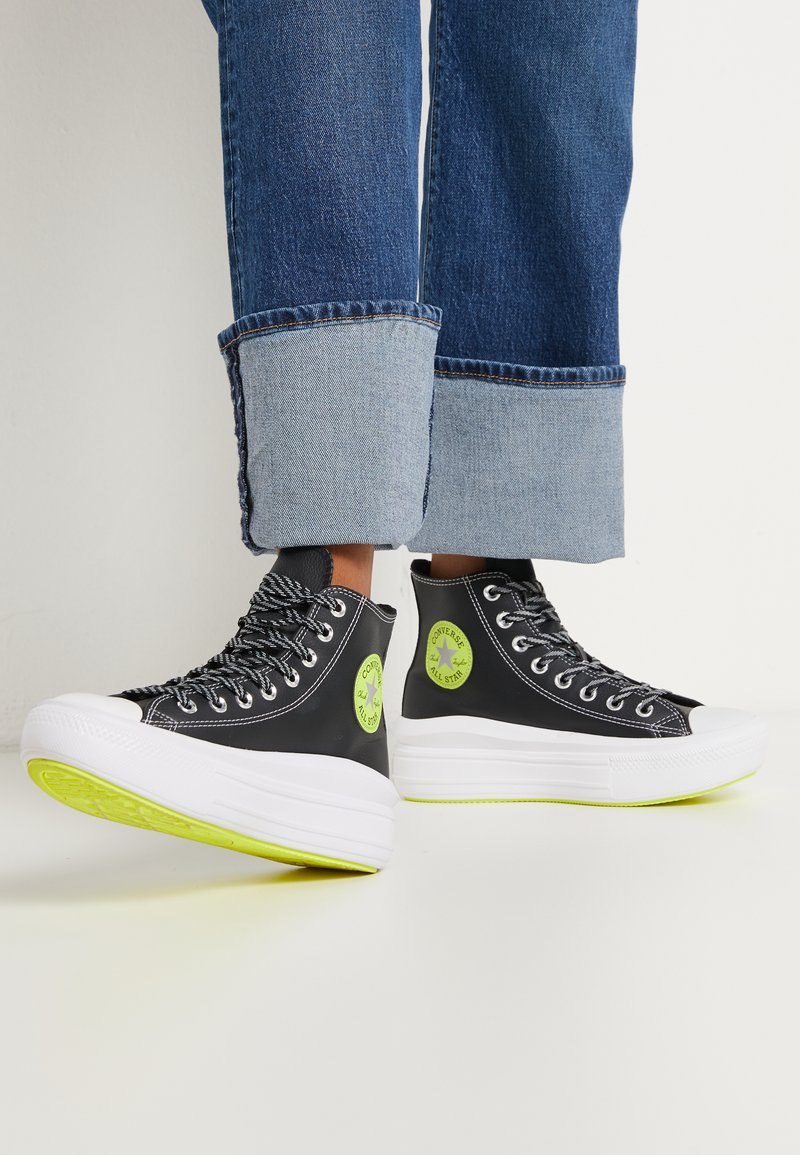Converse - CHUCK TAYLOR MOVE PLATFORM - High-top trainers - black/lemon/white