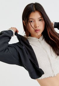 PULL&BEAR - BASIC - Zip-up sweatshirt - mottled dark grey - 3