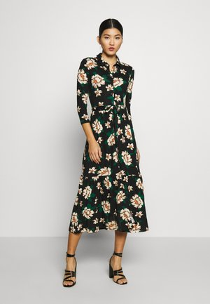 BLACK FLORAL THREE QUARTER SLEEVE SHIRT DRESS - Vestito di maglina - black