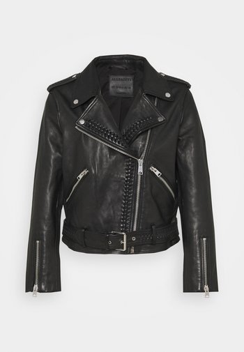 BRAIDED BIKER - Leather jacket - black