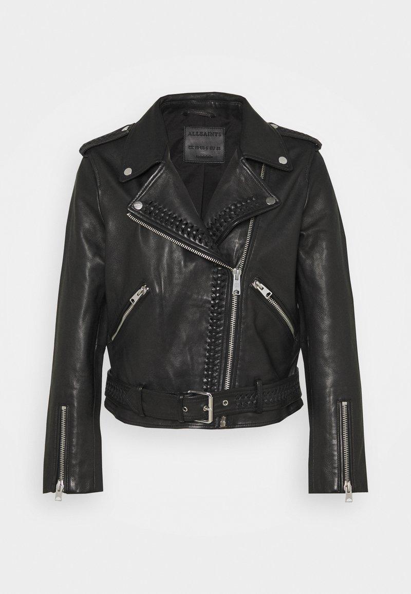 AllSaints - BRAIDED BIKER - Leather jacket - black
