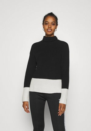 TURTLE NECK COLOR BLOCK - Jumper - black/white