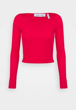 OFF SHOULDER HEART NECK - Maglietta a manica lunga - red
