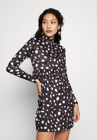 Missguided Tall - DALMATION FRILL WAIST DRESS - Day dress - black - 0