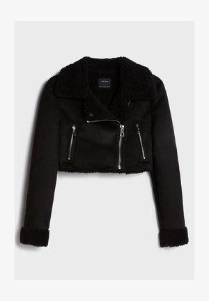 CROPPED-DOUBLEFACE - Leather jacket - black