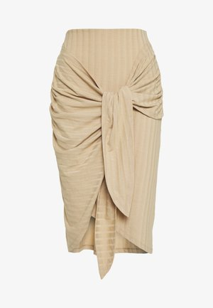 WRAP TIE SKIRT - Gonna a tubino - beige