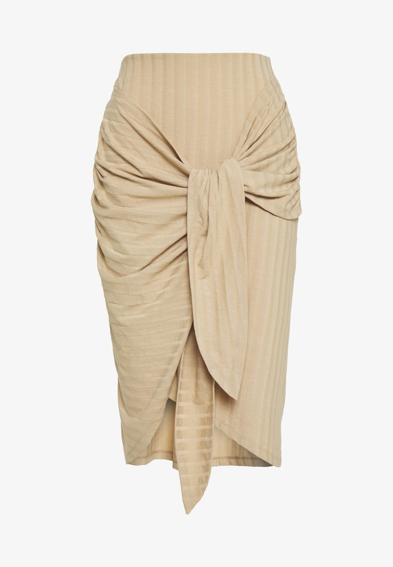 Nly by Nelly - WRAP TIE SKIRT - Pencil skirt - beige