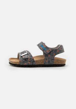 GHITA BOY - Sandals - grey/fluo orange