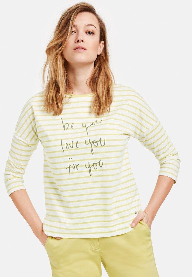Long sleeved top - beige/white/green