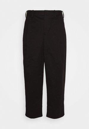PLEAT WIDE LEG - Trousers - black