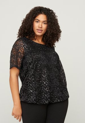 WITH SEQUINS - Blouse - black