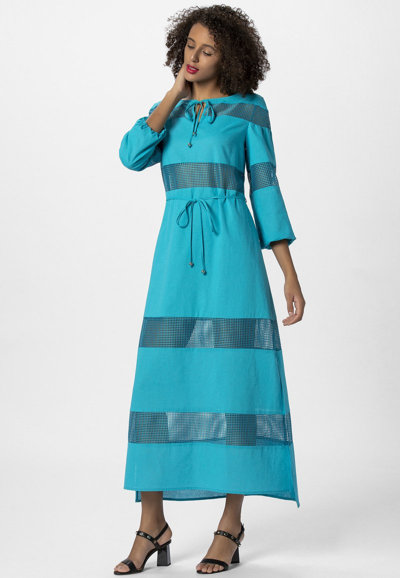 Apart - DRESS WITH INSERTS - Robe longue - petrol