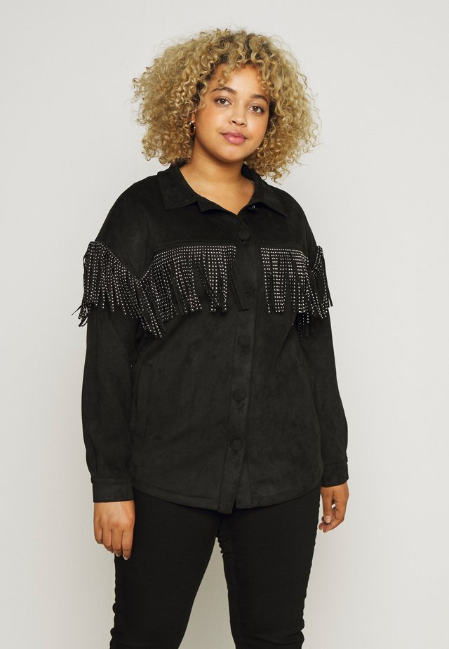 LONGLINE FRINGE SHACKET - Veste en similicuir - black