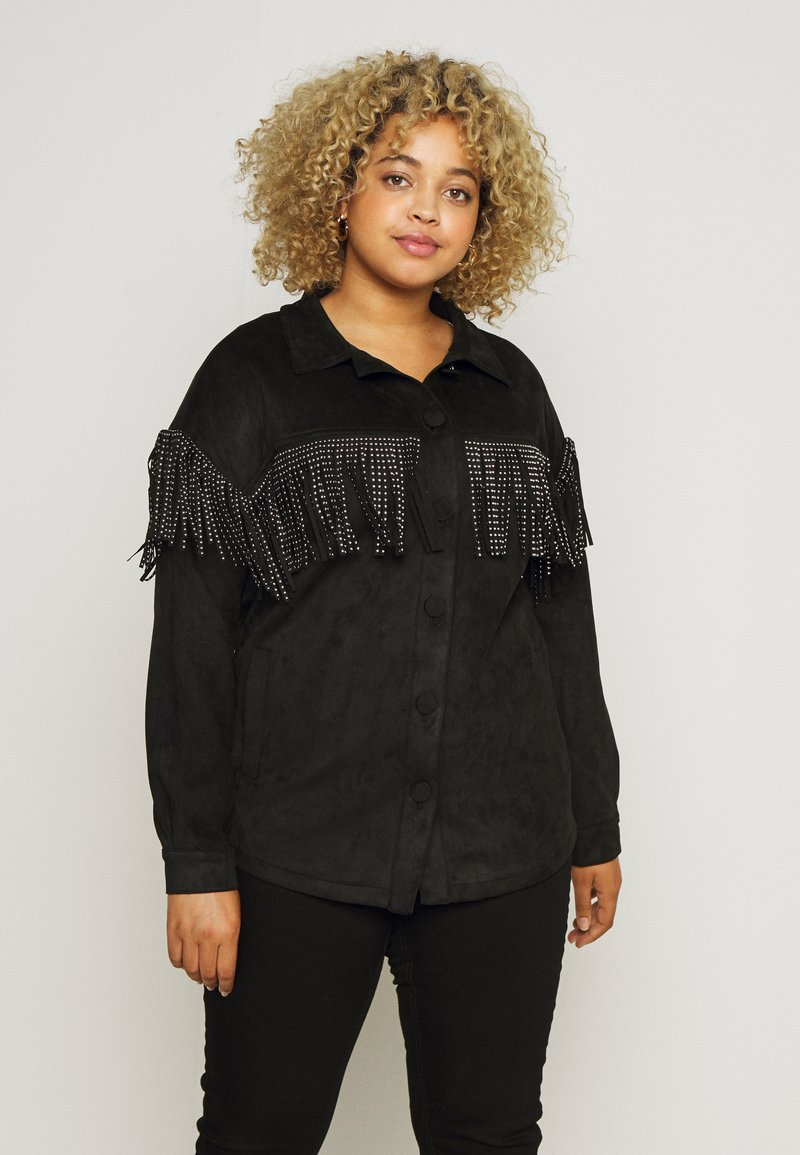 Simply Be - LONGLINE FRINGE SHACKET - Faux leather jacket - black
