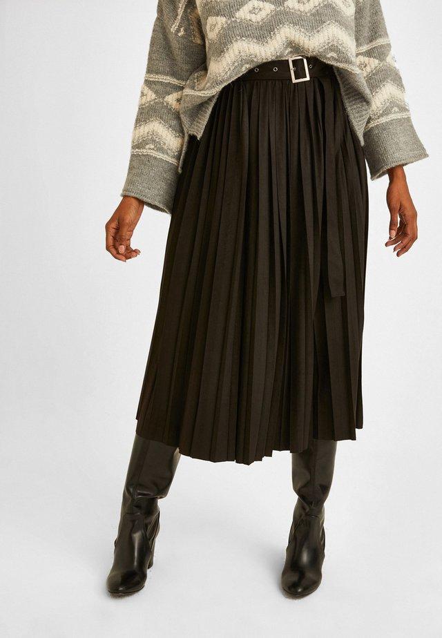 MIT GÜRTEL - A-line skirt - black