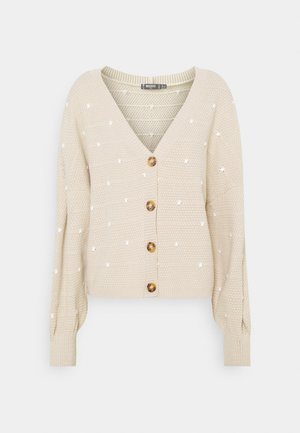 POLKA DOT BALLOON SLEEVE CARDIGAN - Vest - stone