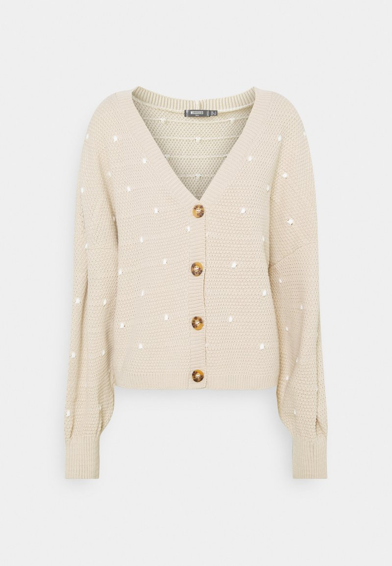 Missguided Tall - POLKA DOT BALLOON SLEEVE CARDIGAN - Cardigan - stone