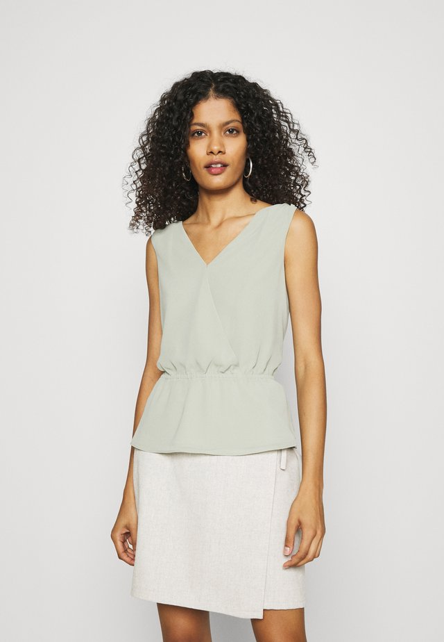 DOUBLE V NECK PEPLUM - Top - sage bouquet