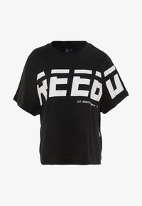 Reebok - MEET YOU THERE GRAPHIC TEE - Triko spotiskem - black - 3