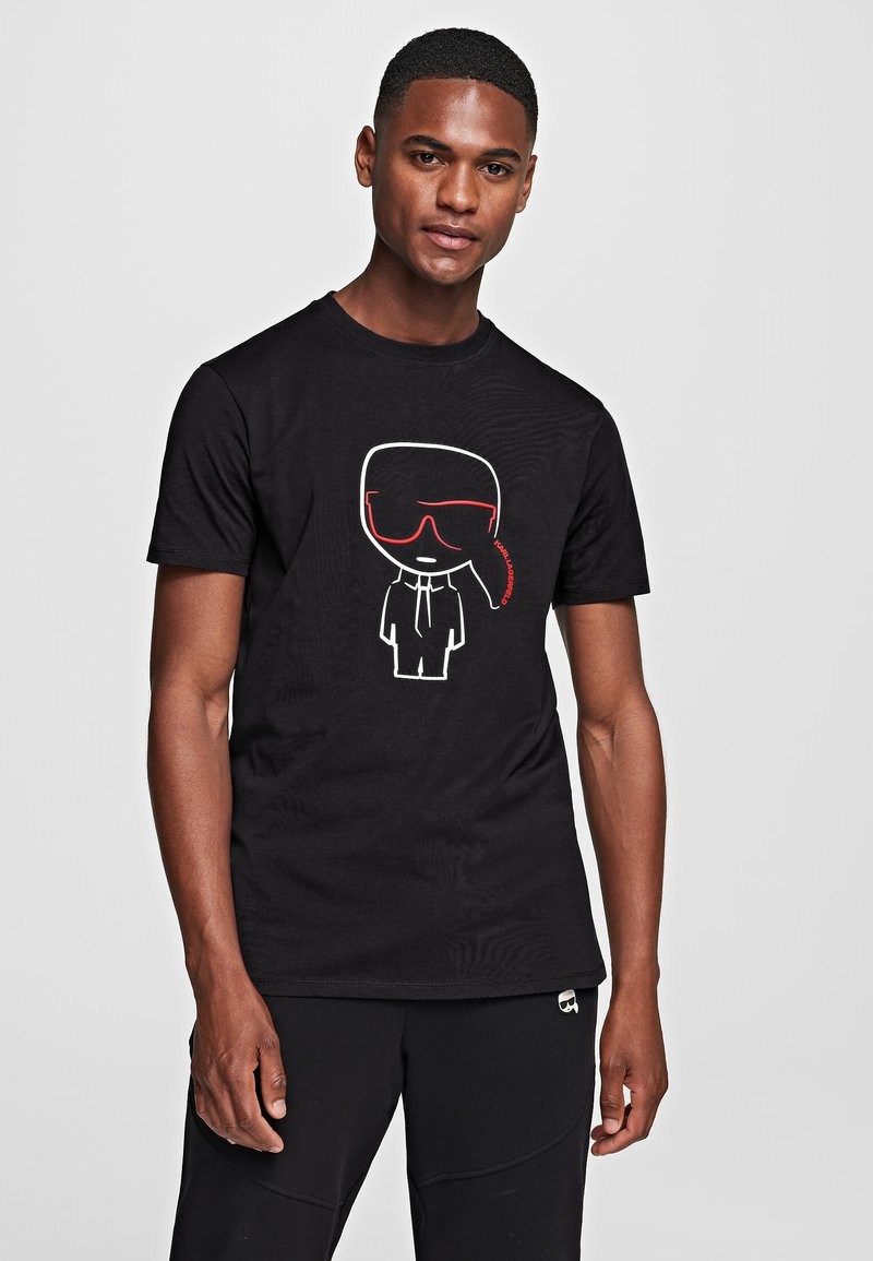KARL LAGERFELD - IKONIK OUTLINE  - Print T-shirt - black