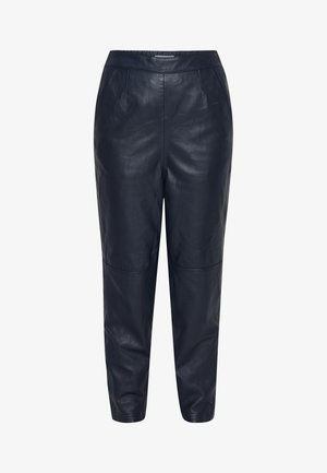 IHYOHANNA PA - Leather trousers - dark navy