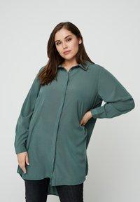 Zizzi - Button-down blouse - dark green - 0