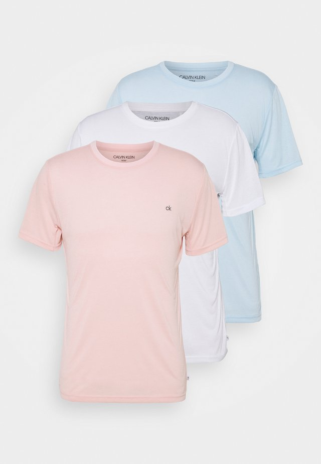 3 PACK - Basic T-shirt - soft pink/white/blue