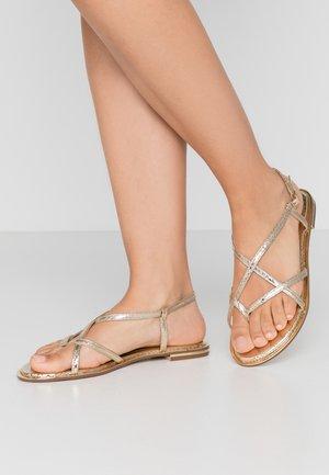 FRESH FORMAL SNAKE FLAT - T-bar sandals - gold