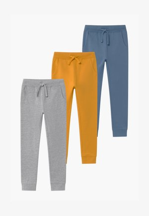 BASIC BOYS 3 PACK - Tracksuit bottoms - light grey/ochre/blue