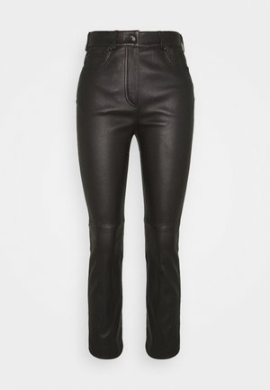 LAKKILI - Leather trousers - black