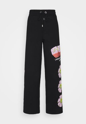 FLOWER COLLEGE PANTS - Tracksuit bottoms - black