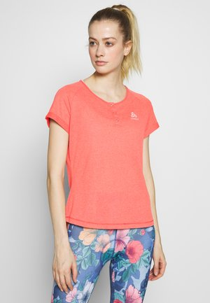 CREW NECK ELEMENT - Print T-shirt - hot coral melange