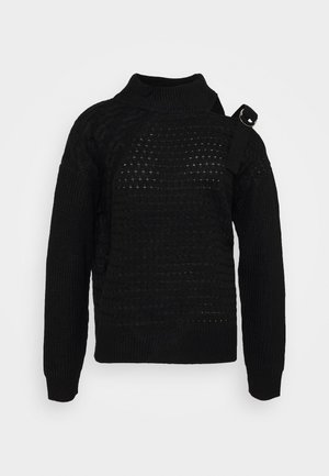 CUT OUT RIBBED SWEATER  - Trui - black