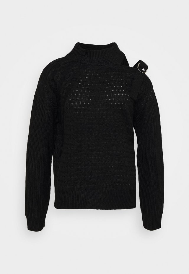 CUT OUT RIBBED SWEATER  - Maglione - black
