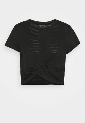 STUDIO TWIST BURNOUT TEE - Triko s potiskem - black
