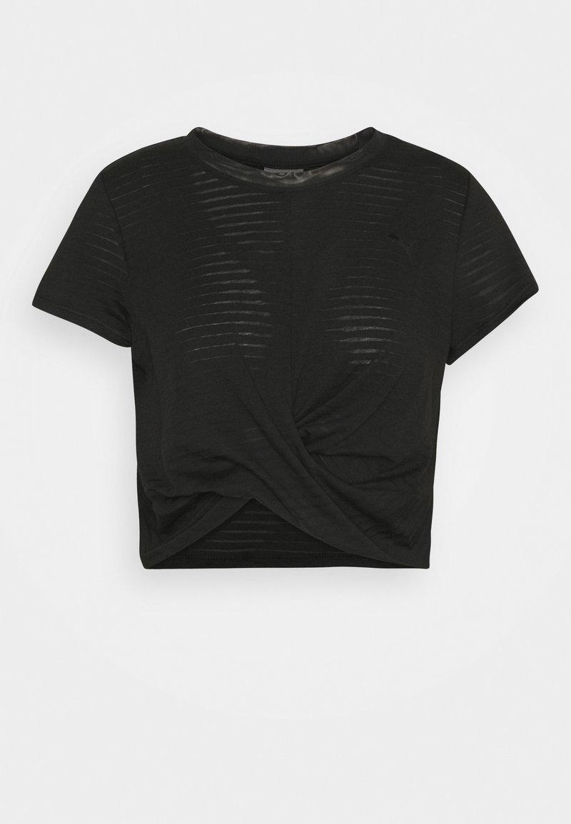 Puma - STUDIO TWIST BURNOUT TEE - Print T-shirt - black