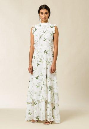 Długa sukienka - aop - branche flowers snow white