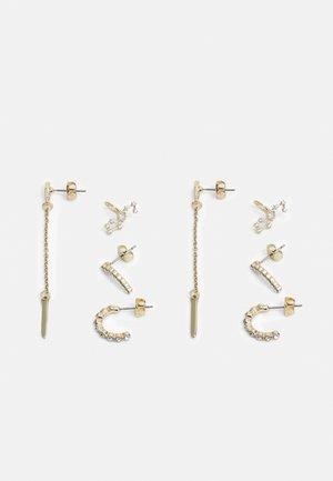 PCNULLI EARRINGS 4 PACK - Náušnice - gold-coloured/clear