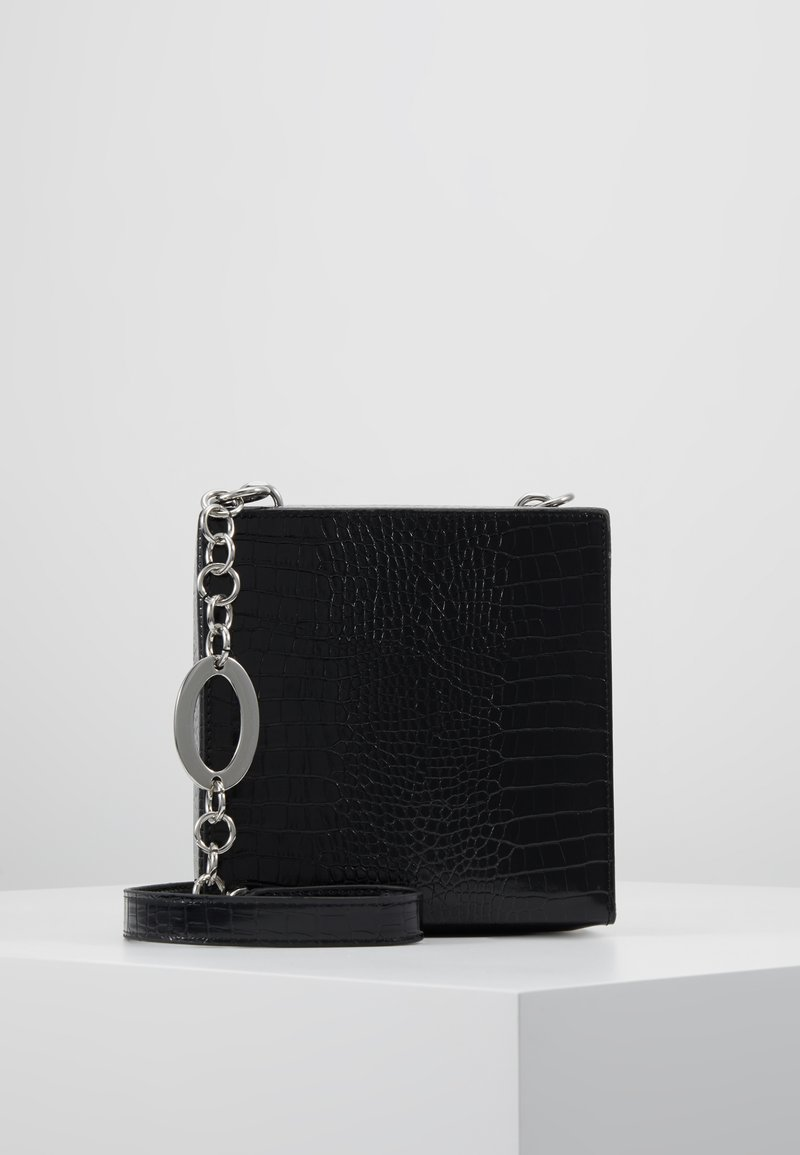 Topshop - SNAKEY BOXY SHOULDER - Across body bag - black