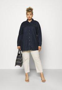 Noisy May Curve - NMFLANNY LONG SHACKET - Short coat - dark blue denim - 1