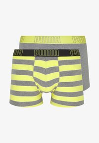Puma - BOLD STRIPE BOXER 2 PACK - Panties - yellow/grey melange