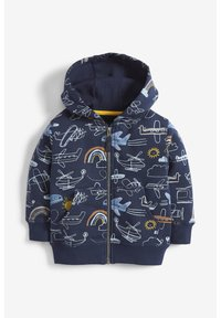 Next - NAVY AEROPLANE ALL OVER PRINT ZIP THROUGH HOODY (3MTHS-7YRS) - Cardigan - blue - 0