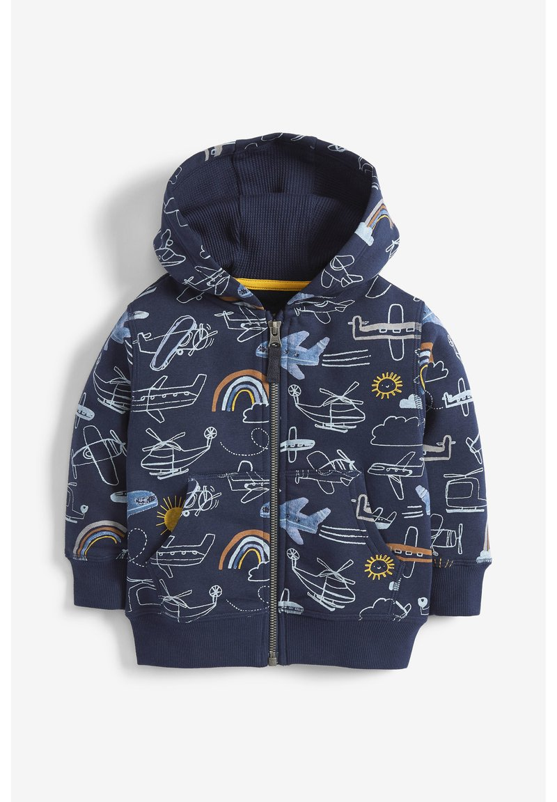 Next - NAVY AEROPLANE ALL OVER PRINT ZIP THROUGH HOODY (3MTHS-7YRS) - Cardigan - blue