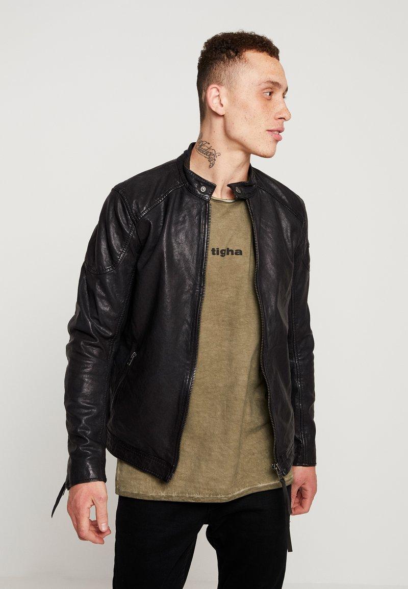 Tigha - QUENTIN - Veste en cuir - black