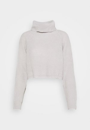 ROLL NECK BATWING CROP JUMPER - Jumper - grey