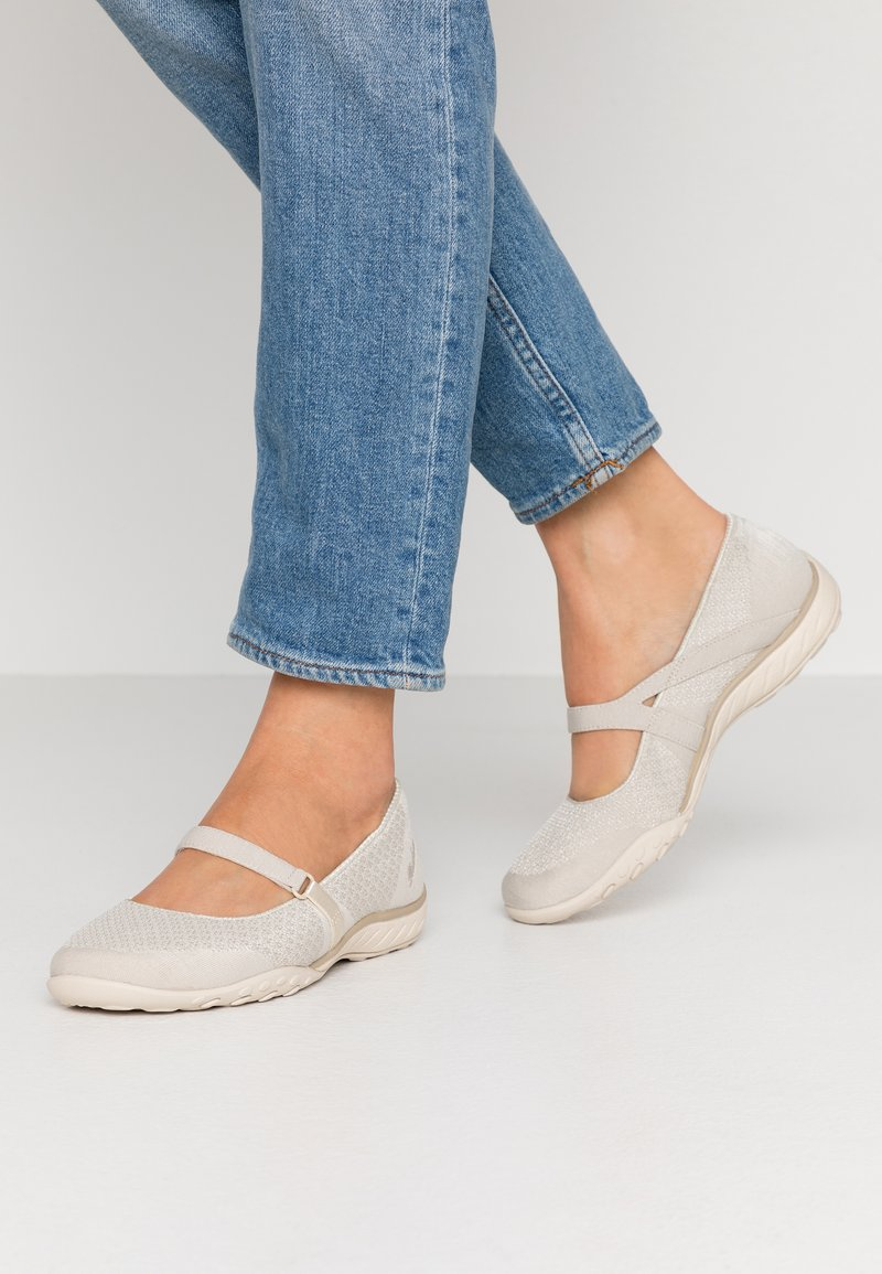 Skechers - BREATHE-EASY RELAXED FIT - Ankle strap ballet pumps - natural soft/taupe