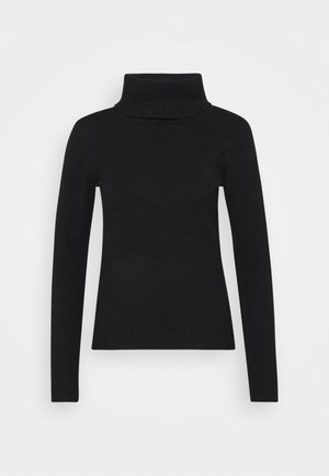 FITTED SPONGY TURTLE NECK - Jumper - black